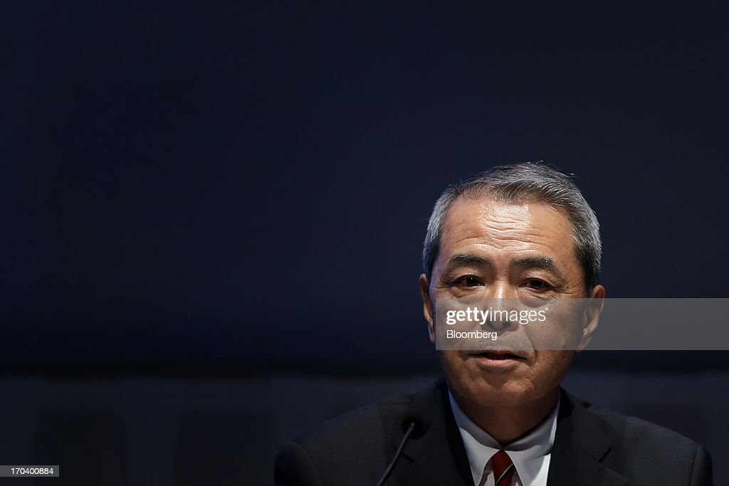 Senji Miyake, president of Kirin Holdings Co., speaks during the Global Summit of the Consumer Goods Forum 2013 in Tokyo, Japan, on Wednesday, June 12, 2013. The summit runs from June 12 to June 14. Photographer: Kiyoshi Ota/Bloomberg via Getty Images