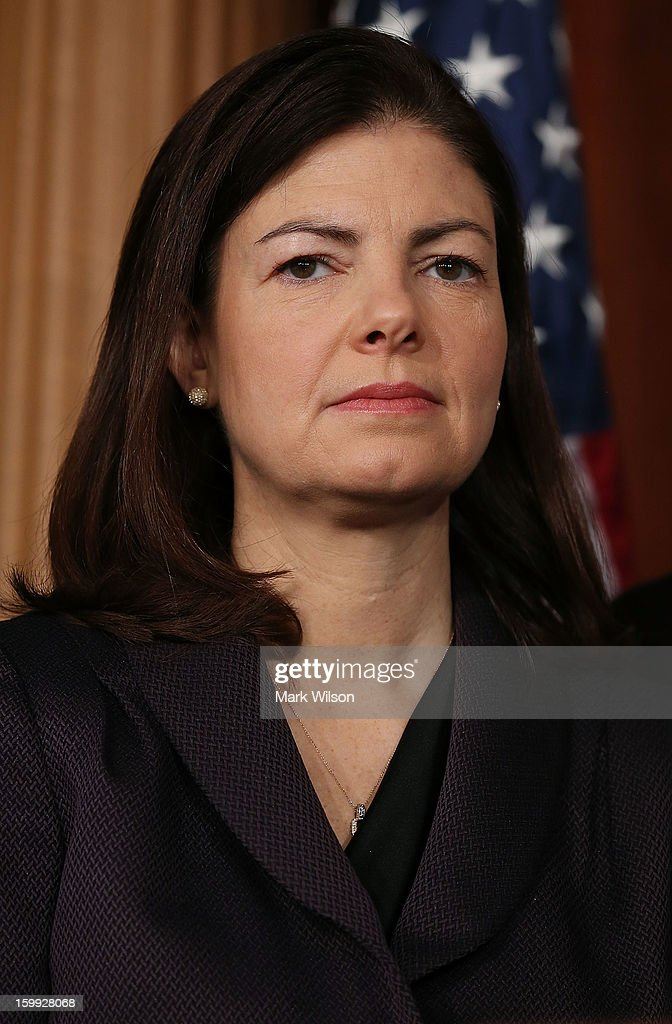 Sen.Kelly Ayotte (R-NH) attends a news conference on Capitol Hill, January 23, 2013 in Washington, DC. Senators Dean Heller R-NV) and Sen. Joe Manchin (D-WV) introduced bipartisan legislation that would require members of Congress to pass a budget in order to receive their pay.
