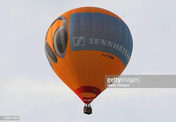 A sennheiser ballon in the air at the Warsteiner International Hot Air Balloon Show in the Arnsberger Forest National Park on September 2 2011 near...