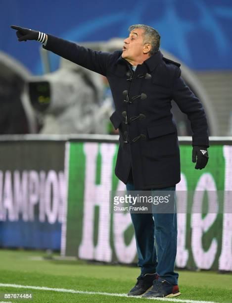 Senol Gunes head coach of Besiktas gestures during the UEFA Champions League group G match between RB Leipzig and Besiktas at Red Bull Arena on...