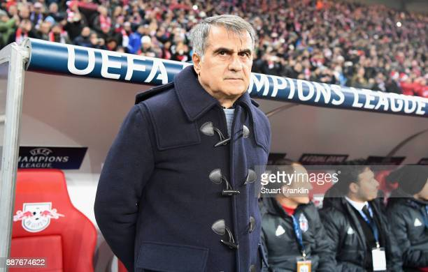 Senol Gunes head coach of Besiktas looks on during the UEFA Champions League group G match between RB Leipzig and Besiktas at Red Bull Arena on...