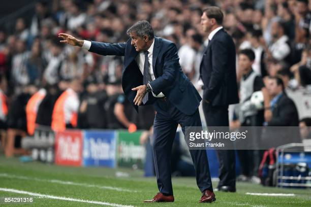 Senol Gunes Manager of Besiktas gives his team instructions during the UEFA Champions League Group G match between Besiktas and RB Leipzig at...