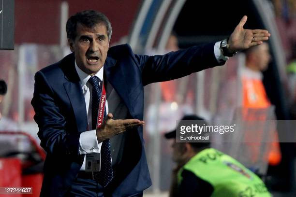 Senol GunesHead Coach of Trabzonspor AS gestures during the Super League match against Istanbul BB SK at the Avni Aker Stadium on September 17 2011...