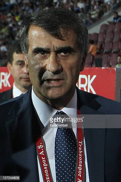 Senol GunesHead Coach of Trabzonspor AS looks on during the Super League match against Istanbul BB SK at the Avni Aker Stadium on September 17 2011...