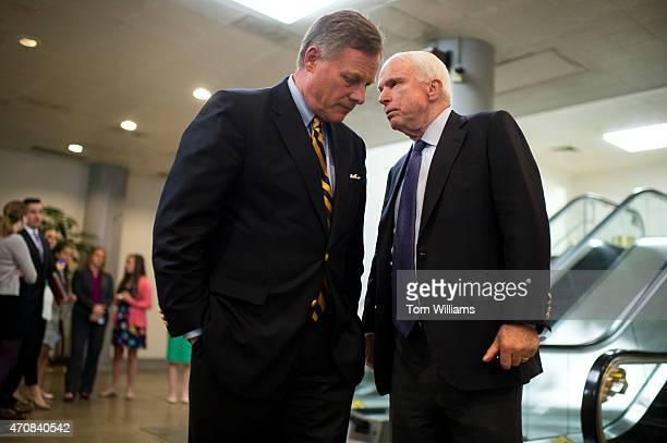 Sens John McCain RAriz right and Richard Burr RNC talk in the Capitol's senate subway after the Senate voted to confirm Loretta Lynch as attorney...