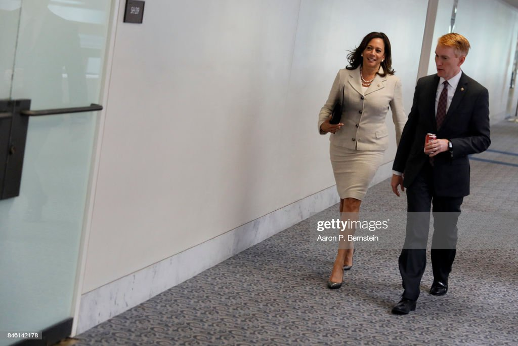 U.S. Sens. Kamala Harris (D-CA) and James Lankford (R-OK) enter a meeting of the Senate Intelligence Committee on Capitol Hill September 7, 2017 in Washington, DC. The Committee is one of the bodies investigating Russian involvement in the 2016 election.