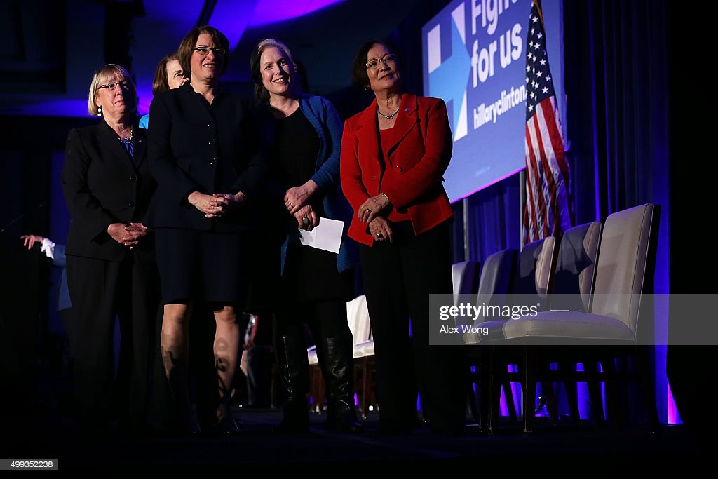 U.S. Sens. <a gi-track='captionPersonalityLinkClicked' href=/galleries/search?phrase=Patty+Murray&family=editorial&specificpeople=532963 ng-click='$event.stopPropagation()'>Patty Murray</a> (D-WA), <a gi-track='captionPersonalityLinkClicked' href=/galleries/search?phrase=Amy+Klobuchar&family=editorial&specificpeople=3959717 ng-click='$event.stopPropagation()'>Amy Klobuchar</a> (D-MN), Kirsten Gillibrand (D-NY), and <a gi-track='captionPersonalityLinkClicked' href=/galleries/search?phrase=Mazie+Hirono&family=editorial&specificpeople=3461717 ng-click='$event.stopPropagation()'>Mazie Hirono</a> (D-HI) watch a video during a 'Women for Hillary' fundraiser November 30, 2015 in Washington, DC. All 14 Democratic women senators, except Sen. Elizabeth Warren (D-MA) have endorsed Hillary Clinton to run for the President of the U.S.