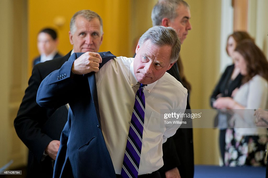 Sens. <a gi-track='captionPersonalityLinkClicked' href=/galleries/search?phrase=Richard+Burr&family=editorial&specificpeople=689238 ng-click='$event.stopPropagation()'>Richard Burr</a>, R-N.C., foreground, and <a gi-track='captionPersonalityLinkClicked' href=/galleries/search?phrase=Thom+Tillis&family=editorial&specificpeople=11400391 ng-click='$event.stopPropagation()'>Thom Tillis</a>, R-N.C., leave the Senate Policy luncheons in the Capitol, March 24, 2015.