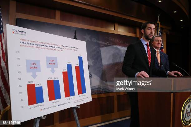 Sens Tom Cotton and David Perdue speak to the media during a news conference on Capitol Hill February 7 2017 in Washington DC Cotton and Perdue...