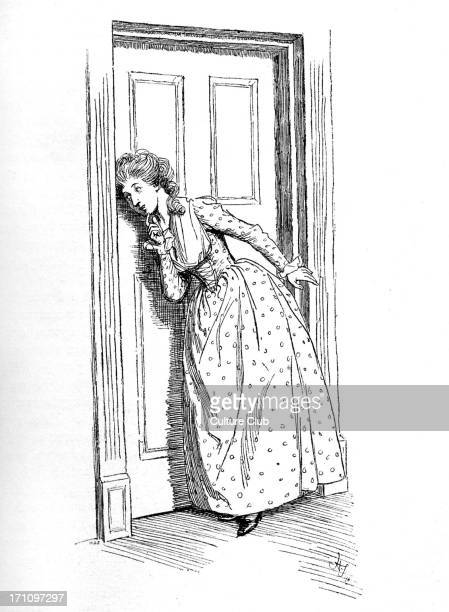 'Sense and Sensibility' by Jane Austen Elinor listens at the door First published in 1896 Chapter XXXVIII Illustration by Hugh Thomson 1896 JA...