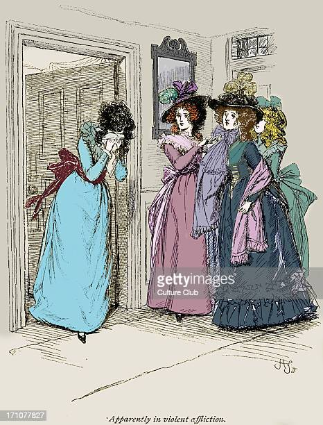 'Sense and Sensibility' by Jane Austen Marianne coming hastily out of the parlour past Mrs Dashwood and her two sisters Chapter XV Caption reads '...