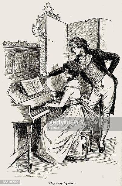 Sense and Sensibility by Jane Austen Marianne Dashwood Mr Willoughby singing together at the piano Chapter X Firsst published in 1811 Illustration by...