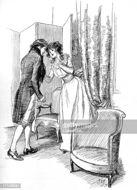 'Sense and Sensibility' by Jane Austen Marianne draws Edward aside First published in 1896 Chapter XXXV Illustration by Hugh Thomson 1896 JA English...