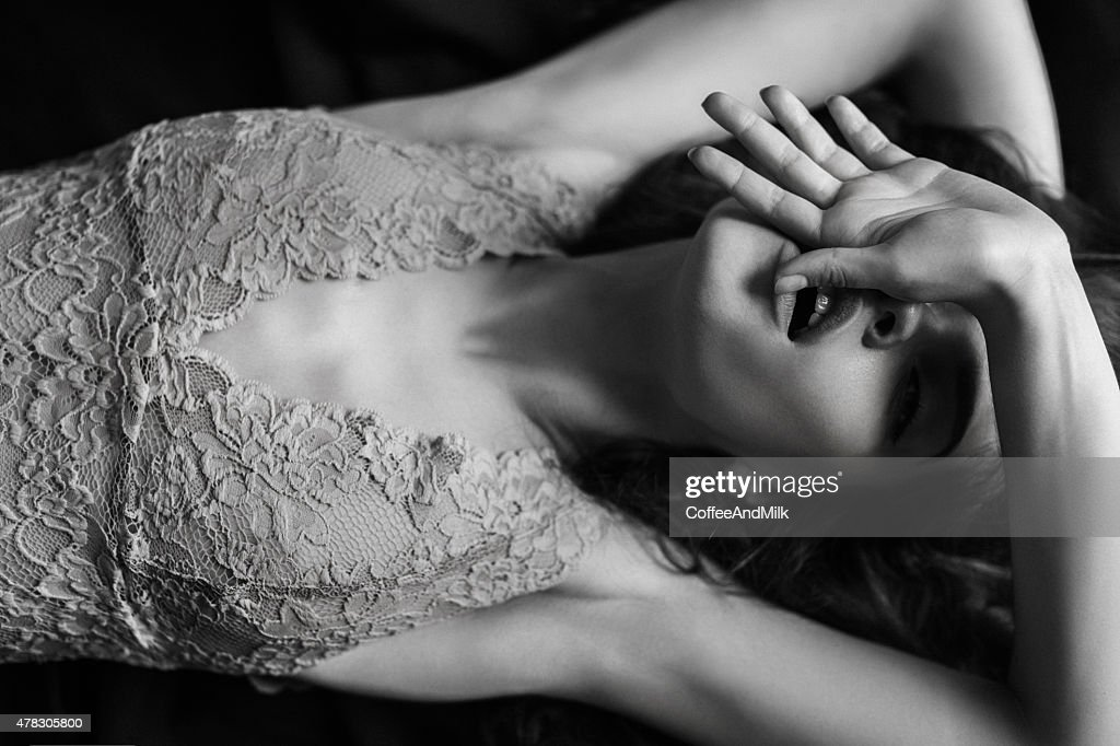 Sensual black-and-white photograph of a woman : Stock Photo