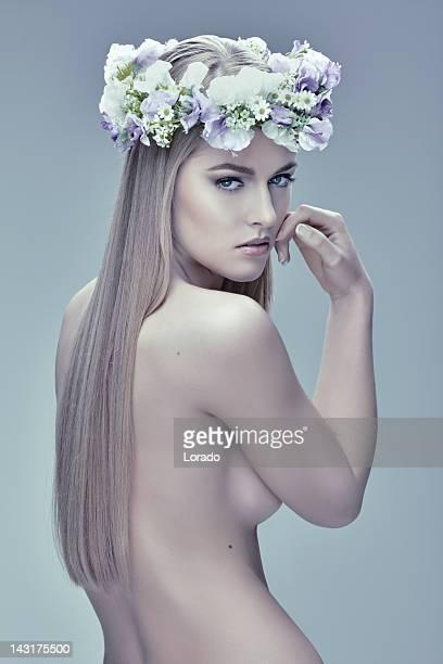 sensual blond hair woman posing naked