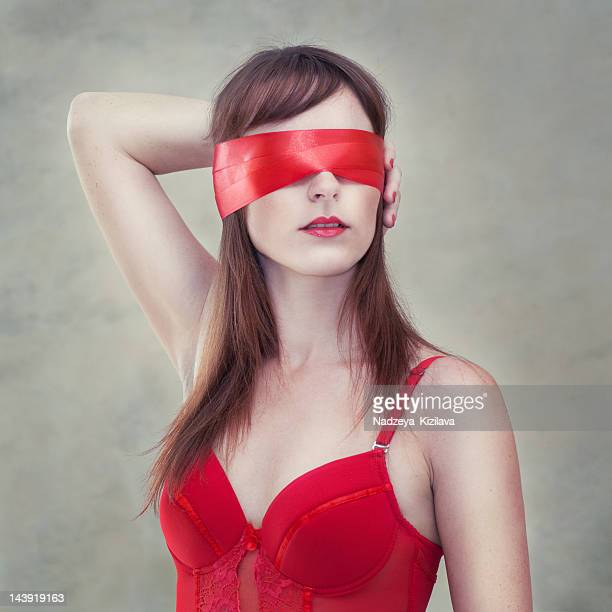 Sensual woman blindfolded