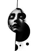 sensual woman with closed eyes fine art portrait, monochrome