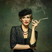sensual woman smoking - vintage style
