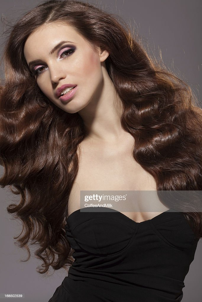 Sensual woman with beautiful hairs : Stock Photo