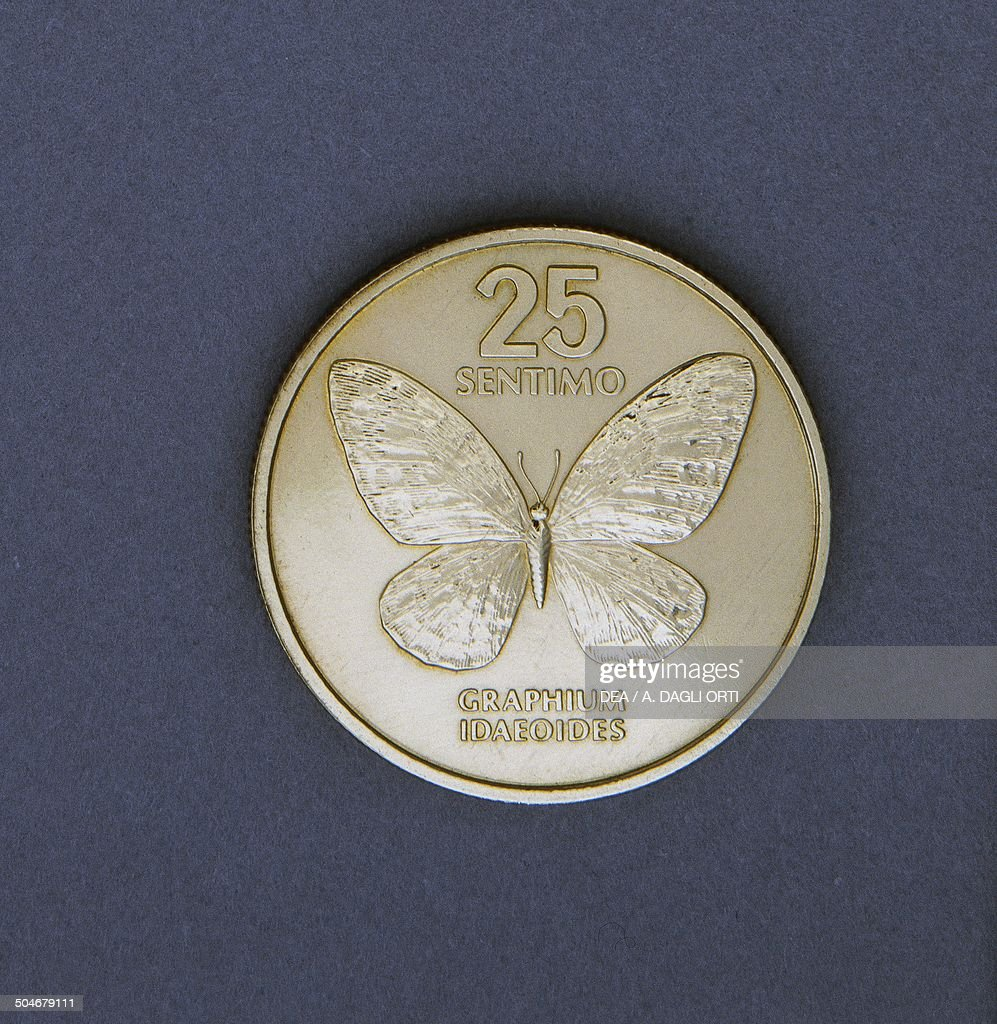 25 sentimo coin reverse Graphium idaeoides butterfly Philippines 20th century