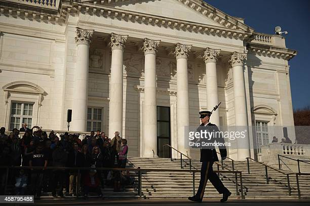 A sentinel from the 3rd US Infantry Regiment also called the Old Guard marches while guarding The Tomb of the Unknowns ahead of Veterans Day...