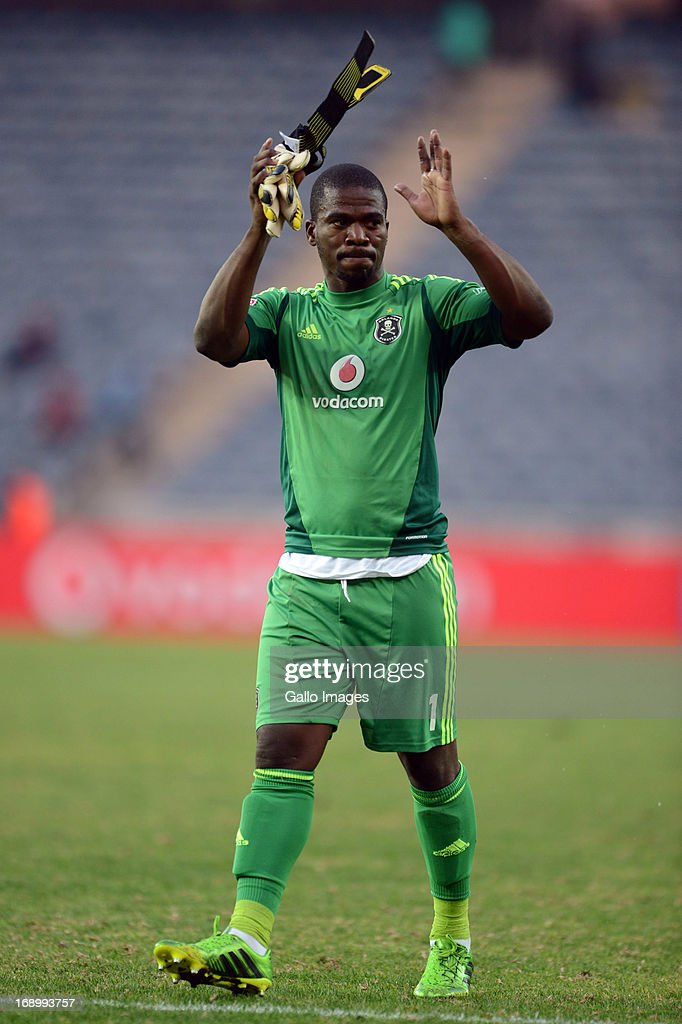 Senzo Meyiwa after the match during the Absa Premiership match between Orlando Pirates and Maritzburg United at Orlando Stadium on May 18, 2013 in Soweto, South Africa.