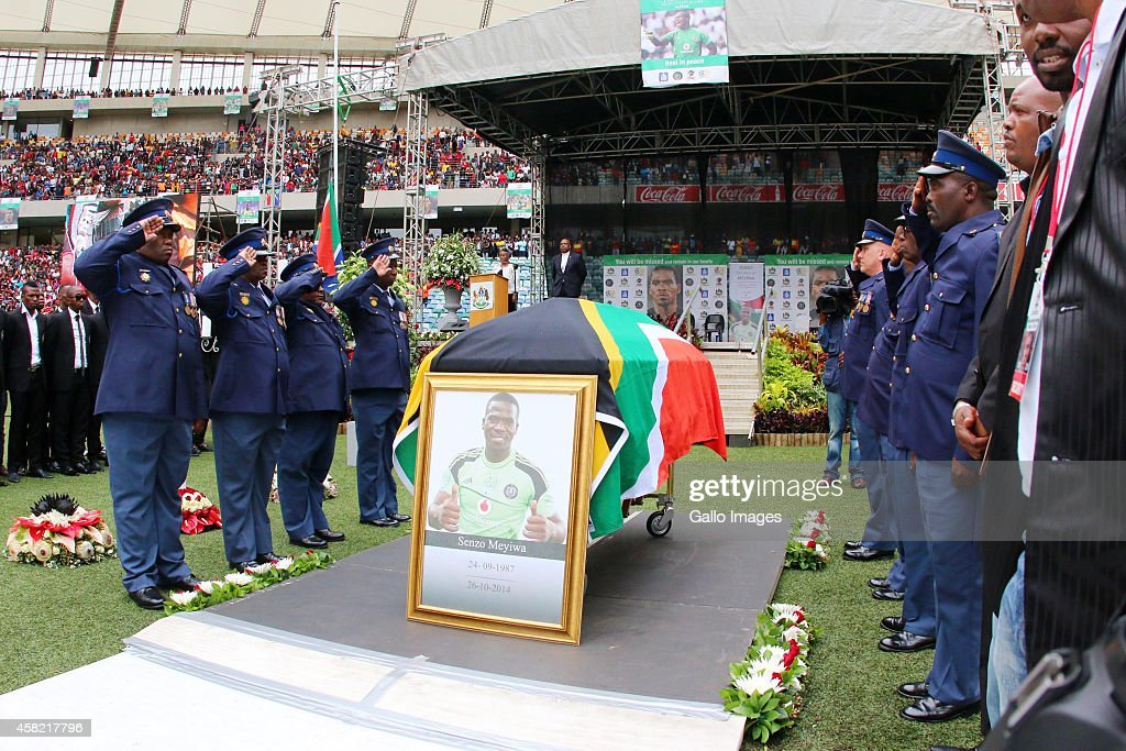Senzo Meyiwa's coffin arrives during the funeral service of the late Senzo Meyiwa at Moses Mabhida Stadium on November 01 2014 in Durban South Africa...