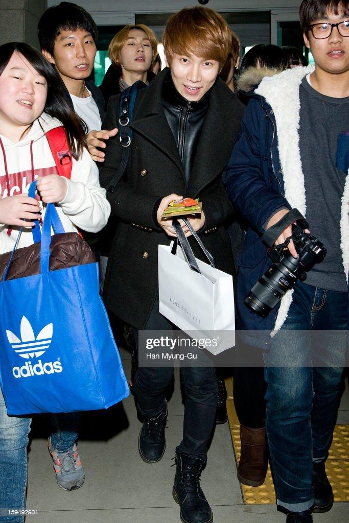 Seo Eun-Kwang of South Korean boy band BtoB is seen at Incheon International Airport on January 13, 2013 in Incheon, South Korea.