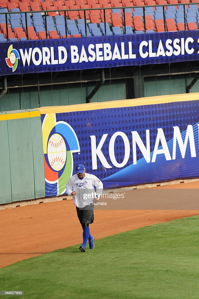 Seo Jae Weong #26 of Team Korea runs in the outfield during the World Baseball Classic workout day at Taichung Intercontinental Baseball Stadium on Friday, March 1, 2013 in Taichung, Taiwan.