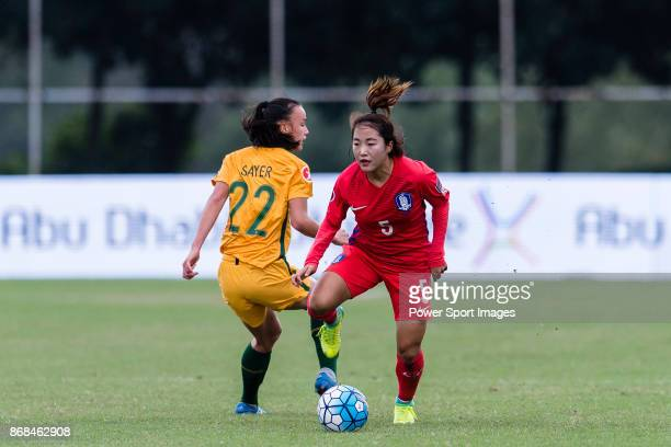 Seo Jinju of South Korea in action during their AFC U19 Women's Championship 2017 Group Stage B match between South Korea and Australia at Jiangsu...