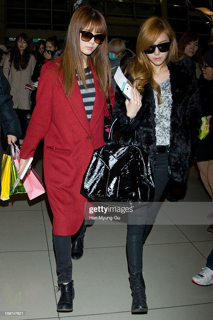 Seohyun and Jessica of South Korean girl group Girls' Generation are seen at Incheon International Airport on January 19, 2013 in Incheon, South Korea.