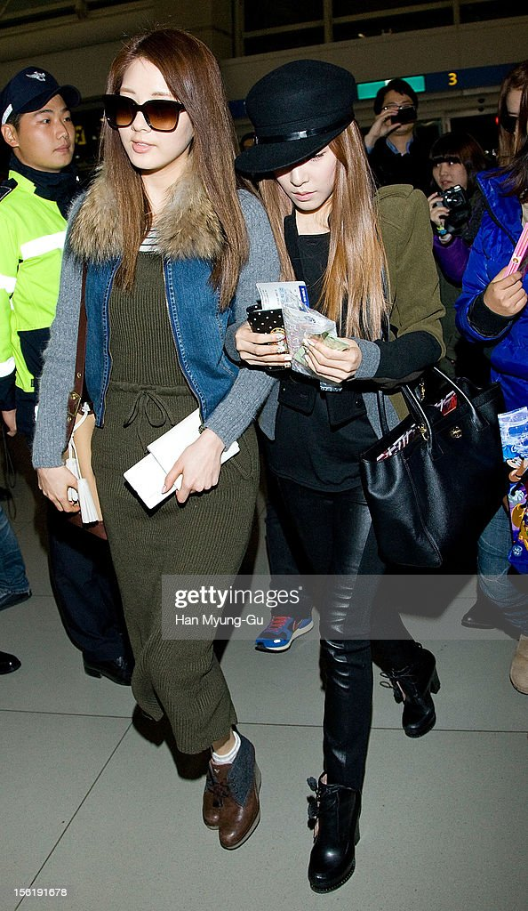 Seohyun and Tiffany of South Korean girl group Girls' Generation is seen at Incheon International Airport on November 10, 2012 in Seoul, South Korea.