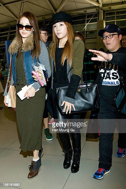 Seohyun and Tiffany of South Korean girl group Girls' Generation is seen at Incheon International Airport on November 10 2012 in Seoul South Korea