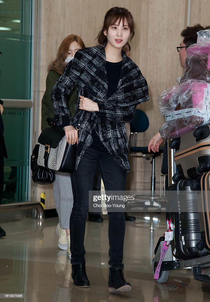 Seo-Hyun of Girls' Generation is seen at Gimpo International Airport on February 11, 2013 in Seoul, South Korea.