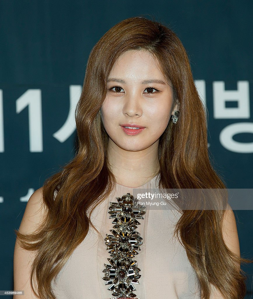 Seohyun of South Korean girl group Girls' Generation attends the press conference for OnStyle 'The TaeTiSeo' at CJ E&M Center on August 22, 2014 in Seoul, South Korea. The program will open on August 26, in South Korea.