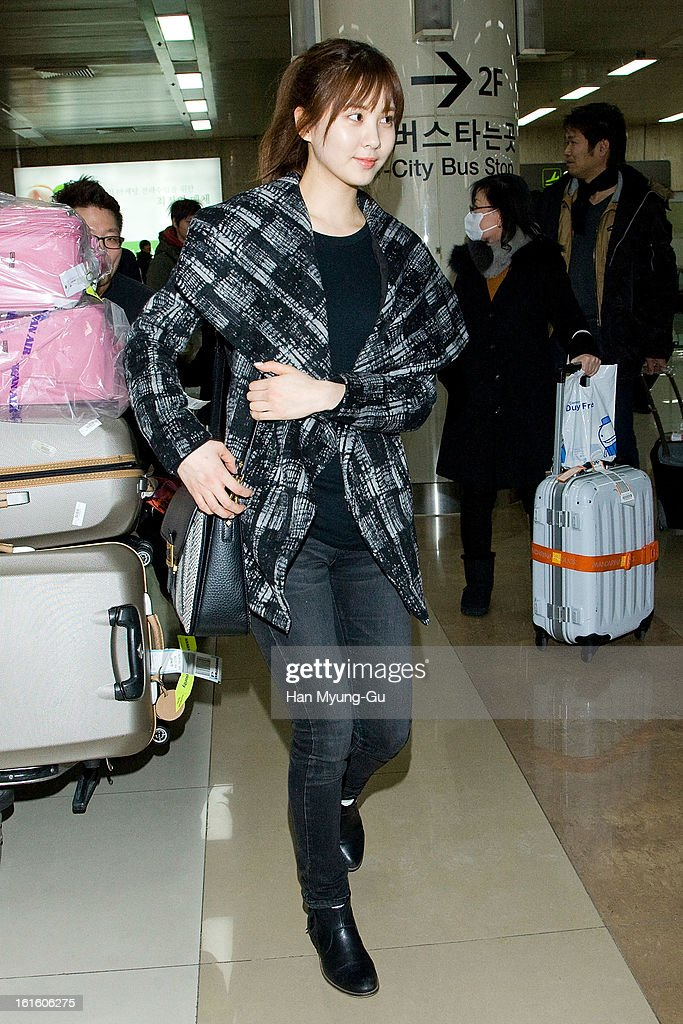 Seohyun of South Korean girl group Girls' Generation is seen at Gimpo International Airport on February 11, 2013 in Seoul, South Korea.