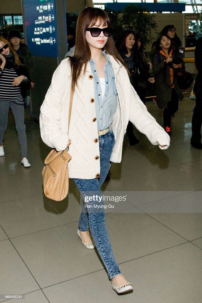 Seohyun of South Korean girl group Girls' Generation is seen on departure at Incheon International Airport on March 8 2013 in Incheon South Korea