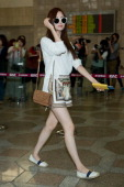 Seohyun of South Korean girl group Girls' Generation is seen on departure at Gimpo International Airport on June 18 2014 in Seoul South Korea