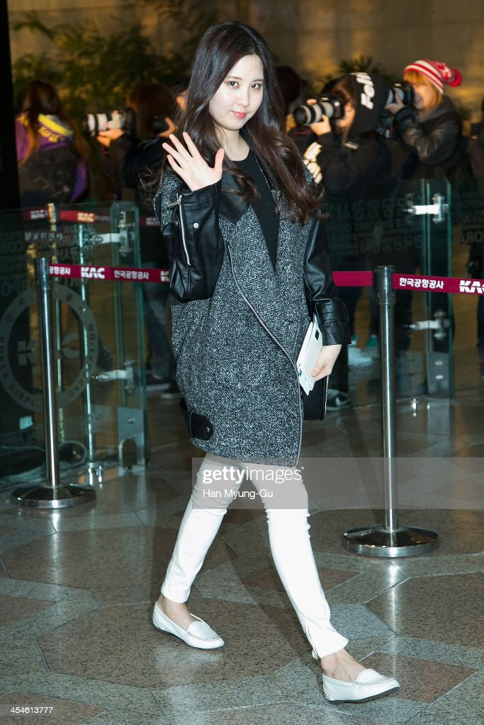 Seohyun of South Korean girl group Girls' Generation is seen on departure at Gimpo International Airport on December 10 2013 in Seoul South Korea