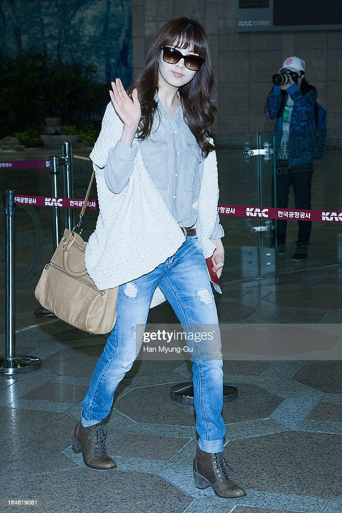 Seohyun of South Korean girl group Girls' Generation is seen on departure to Japan at Gimpo International Airport on March 25, 2013 in Seoul, South Korea.