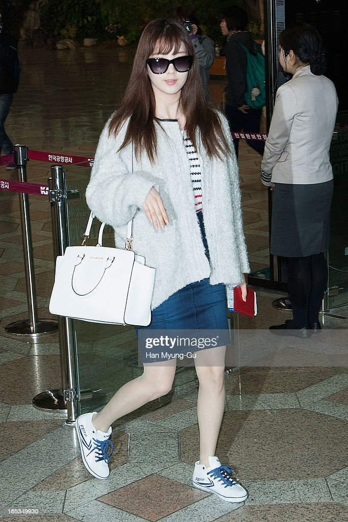 Seohyun of South Korean girl group Girls' Generation is seen on departure to Japan at Gimpo International Airport on April 3, 2013 in Seoul, South Korea.