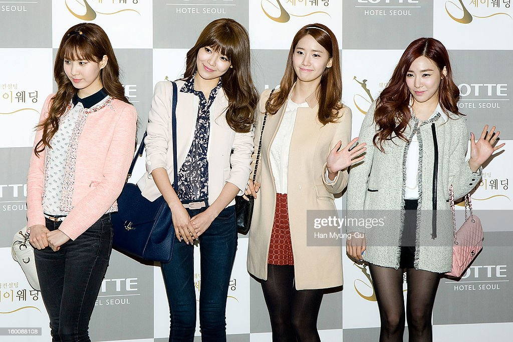 Seohyun, Sooyoung, Yoona and Tiffany of South Korean girl group Girls' Generation attend the wedding of Sun of Wonder Girls at Lotte Hotel on January 26, 2013 in Seoul, South Korea.