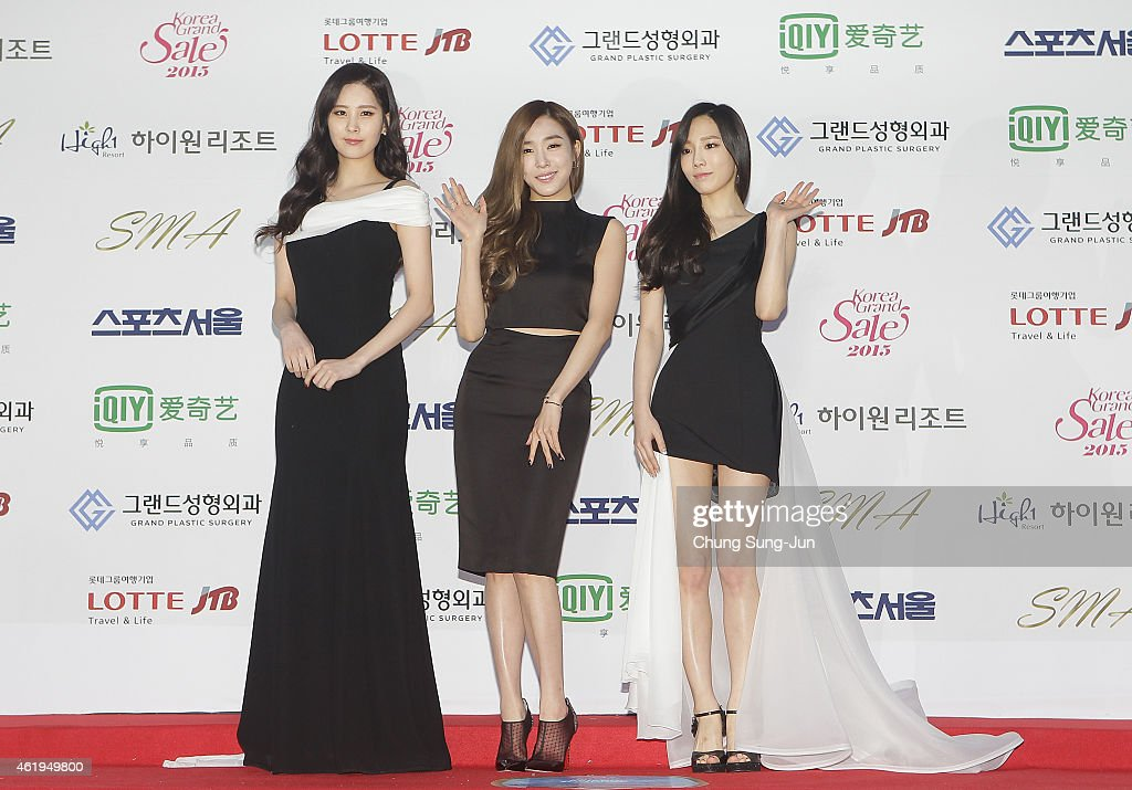 Seohyun, Tiffany and Taeyeon of Girls Generation arrive the 24th Seoul Music Awards at the Olympic Park on January 22, 2015 in Seoul, South Korea.