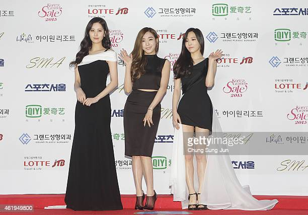 Seohyun Tiffany and Taeyeon of Girls Generation arrive the 24th Seoul Music Awards at the Olympic Park on January 22 2015 in Seoul South Korea