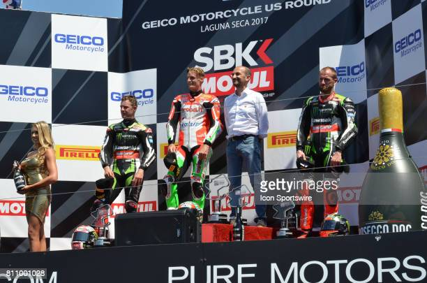 Seond place Jonathan Rea Kawasaki ZX10RR Kawasaki Racing Team Race One winner Chaz Davies Ducati Panigale R Arubait Racing Ducati and third place...