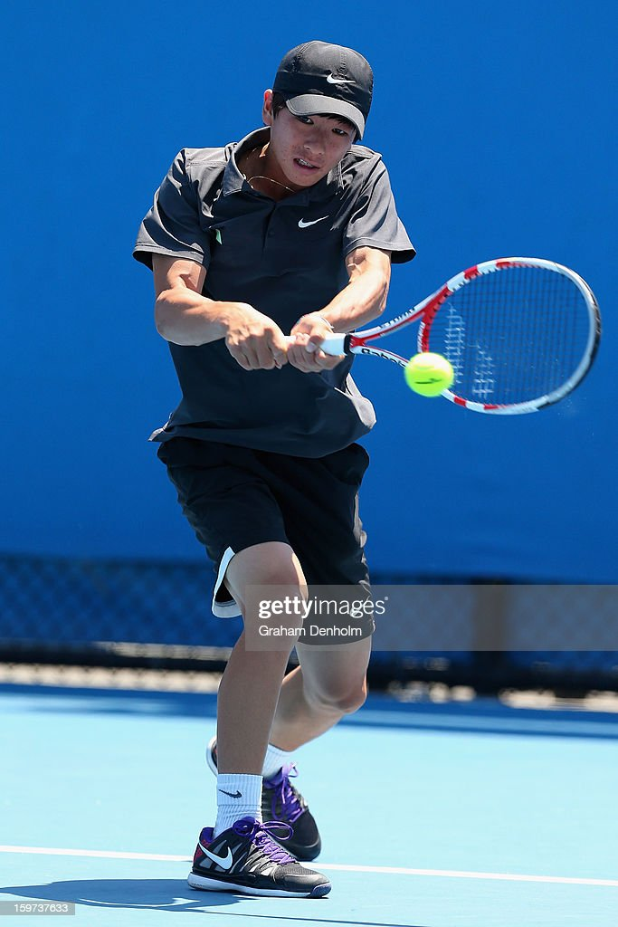 Seong Chan Hong of Korea plays a backhand in his first round match against Omar Jasika of Australia during the 2013 Australian Open Junior Championships at Melbourne Park on January 20, 2013 in Melbourne, Australia.