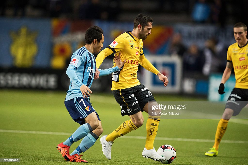 Seon-Min Moon of Djurgardens IF and Emir Barjrami of IF Elfsborg competes for the ball during the Allsvenskan match between IF Elfsborg and Djurgardens IF at Boras Arena on April 28, 2016 in Boras, Sweden.