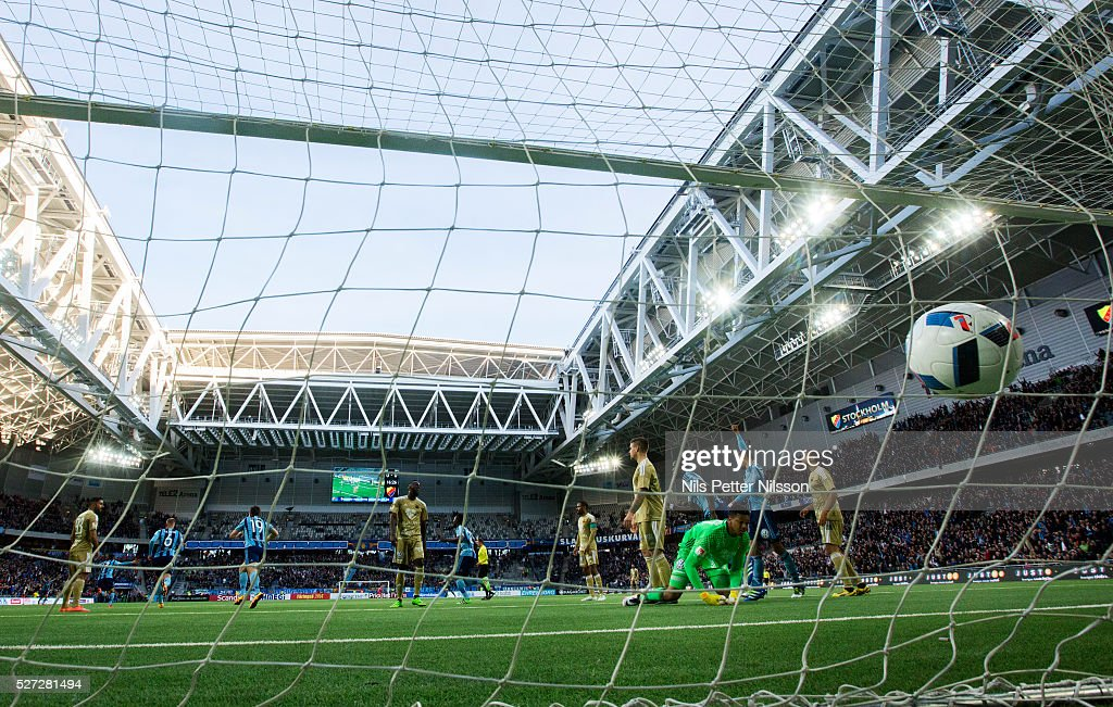 Seon-Min Moon of Djurgardens IF scores to 1-0 during the Allsvenskan match between Djurgardens IF and Ostersunds FK at Tele2 Arena on May 2, 2016 in Stockholm, Sweden.