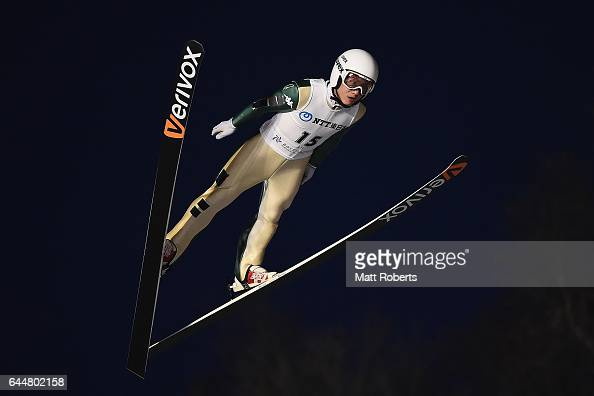 Seou Choi of Korea competes in the men's ski jumping large hill individual on day seven of the 2017 Sapporo Asian Winter Games at Okurayama Ski Jump...