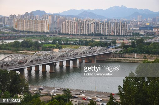 Seoul cityscape and Hangang bridge from above